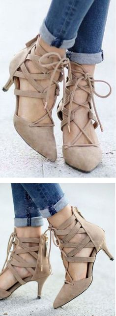 Cutout Lace-Up Heels ❤︎