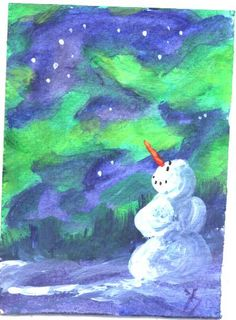 ACEO Northern Lights Snowman Christmas in by jimsmeltzgallery, $20.00