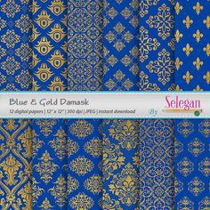 Blue Gold Damask Digital Paper Scrapbooking Paper 12x12