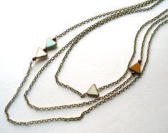 triangle necklace triple strand sky on Etsy, $32.00