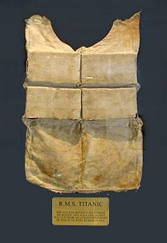 Life jackets were one of the leading causes of death on the Titanic. If a person jumped overboard from 10 feet up or higher, their necks would be broken upon impact with the water. (They may have been the lucky ones). This life jacket was cut from a body after being in the ocean for many days. Recovery workers did not want to touch the bodies, so the life jackets were removed by cutting the straps. The bodies were then weighted and the unidentifiable were returned to the sea.