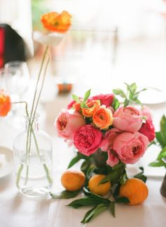 #centerpiece #rose #citrus Photography by esthersunphoto.com, Florals by http://floravidasb.blogspot.com, Event Design by http://hellogem.com  Read more - http://www.stylemepretty.com/2013/09/26/san-ysidro-ranch-wedding-from-esther-sun-photography/