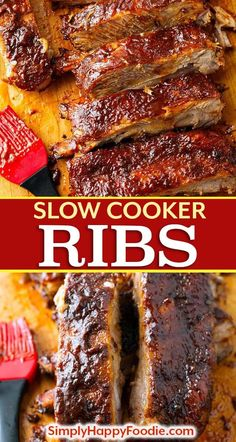 Slow Cooker Ribs are fall off the bone tender, and have amazing flavor. These cr… Slow Cooker Ribs are fall off the bone tender, and have amazing flavor. These crock pot ribs are super easy to make, and will quickly… Continue Reading → Slow Cooker Ribs Recipe, Slow Cooker Barbecue Ribs, Crock Pot Slow Cooker, Crock Pot Cooking, Cooking Ribs, Crock Pot Ribs, Cooking Turkey, Slow Cooker Ribs Easy, Ribs Recipe Oven