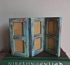 """Multiple Photos Frame-Six 2""""x3""""-Recycled-Distressed Paint Turquoise Green Red Black- Antique Silver Ox Plate Art Nouveau Corner Pieces by PippinPost on Etsy"""