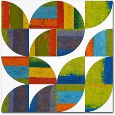 Trademark Fine Art Quarter Rounds 5.0 inch Canvas Art by Michelle Calkins, Size: 24 x 24, Green