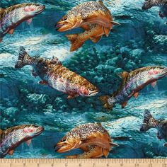 Wild Wings Troutman Basin Scenic Blue from @fabricdotcom  Designed by Persis Clayton Weirs for Springs Creative Products Group, this cotton print is perfect for quilting, apparel and home decor accents. Colors include shades of teal, green, cream, and gold.