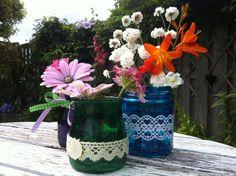 Painted Glass jar flower holders