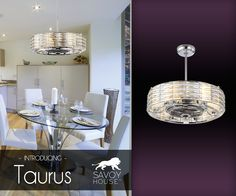 New from Savoy House, the  Taurus fan d'lier combines ceiling fans and chandeliers in a unique style. The chrome drum shade is adorned with faceted crystals for brilliant sparkle. Taurus won a Dallas Market Choice Award for Best New Ceiling Fan!