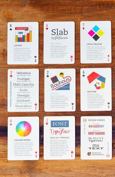 "betype: "" 1 Day Only: Get Off onThe Design Deck: Playing Cards Learn graphic design while playing poker! The Design Deck is a deck of playing cards that doubles as a practical guide to graphic. 1 Day Only, Direct Marketing, Editorial Design, Portfolio Design, Playing Cards, Creations, Deck, Typography, Branding"