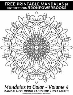FREE Coloring Page for Kids and Adults | Please use freely for personal non-commercial use | Visit http://www.amazon.com/Mandalas-Color-Mandala-Coloring-Adults/dp/1496033418 for a complete 50 Easy Mandala designs. Happy Pinning!