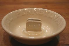 Vtg 1940s Hotel Pennsylvania NYC Ashtray Mayan Ware Tan Cream Match Holder Heavy #HotelPennsylvania