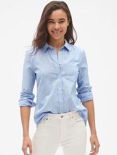 36cabd7bb982f Gap Womens Fitted Boyfriend Stripe Shirt In Metallic Clip Dot Blue Stripe