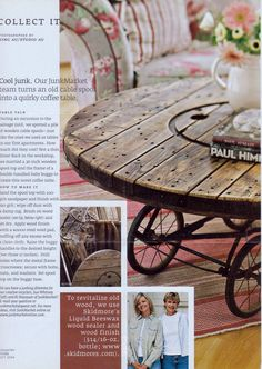 To revitalize old wood we use SKIDMORE's LIQUID BEESWAX AND WOOD SEALER.  (Wooden Cable Spool  Old Baby Buggy Wheels...repurposed into a unique coffee table.)