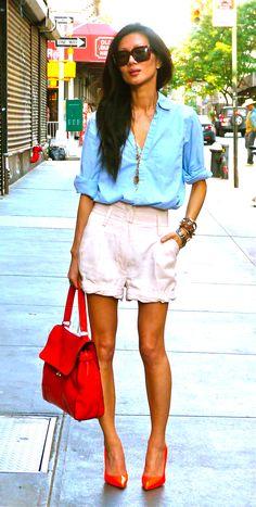 """i always said i would never wear baby pink w/ light blue. for some reason, i felt like it today...fav steven alan shirt + neon manolo."" marissa webb"