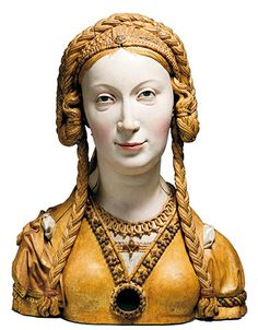 Reliquary Bust of a Female Saint  Date:ca. 1520–30Geography:Made in, possibly Brussels, BelgiumCulture:South NetherlandishMedium:Oak, paint, gilt [dress laces up the back]