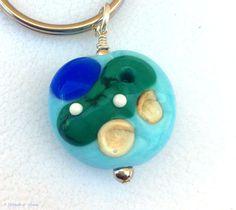 Golf Key Ring, Lampwork Glass Key Ring, Golf Course Key Ring by ASplashOGlass on Etsy