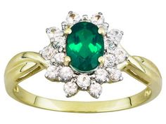 Emerald Essence .88ct Oval Beryl Triplet With .60ctw Round White Sapphire 10k Y/G Ring  Erv $412.00