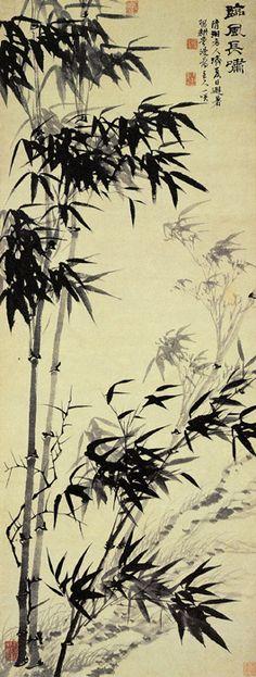 """《临风长啸图》  清 石涛 纸本墨笔      石涛是创新派的杰出代表,以苍茫豪拓、淋漓洒脱的""""气胜""""而著称。"""