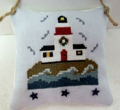 Christmas Lighthouse Cross Stitched Hanging by luvinstitchin4u, $18.50