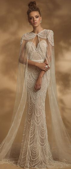 Sweetheart neckline heavy embellishment fit and flare wedding dress sweep train. Although this gown is referred to as a wedding gown, I think it would make a fabulous gown for any occasion. Fit And Flare Wedding Dress, Country Wedding Dresses, Modest Wedding Dresses, Boho Wedding Dress, Bridal Dresses, Wedding Gowns, Wedding Cape, Bling Wedding, Backless Wedding