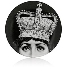 """Fornasetti \""""With Crown On\"""" Plate (9,175 PHP) ❤ liked on Polyvore featuring home, home decor, backgrounds - round, no color, crown plates, black white home decor, fornasetti plates, porcelain plates and black and white plates"""