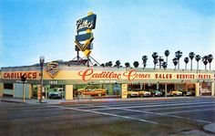 Cadillac Corner, 1932 Wilshire Blvd in Santa Monica, late '50s or early '60s. My dad told me this was a Studebaker dealership in the '40s.