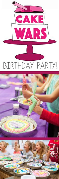 I love this girls birthday party idea! Cake wars! Each girl got to decorate their own cake!                                                                                                                                                      More