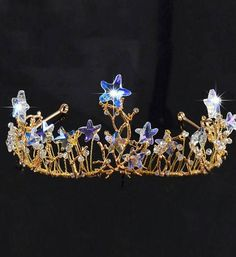 Bridal Boho gypsy star quartz wired wedding tiara crown.
