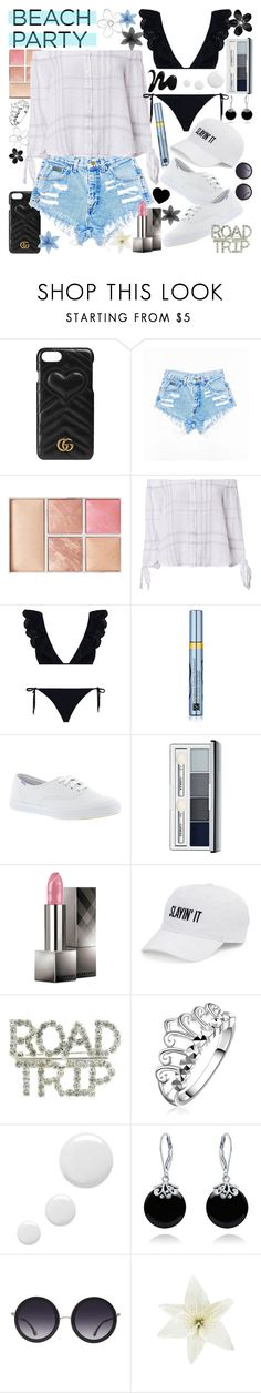 """""""I Get Those Goosebumps Every Time, Yeah, You Come Around, Yeah"""" by luvmrb61899 ❤ liked on Polyvore featuring Gucci, Hourglass Cosmetics, Rails, Zimmermann, Estée Lauder, Keds, Clinique, Burberry, SO and Topshop"""