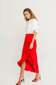 faldas rojas para invitadas de boda midi asimetrica de fiesta comunion bautizo evento shopping apparentia