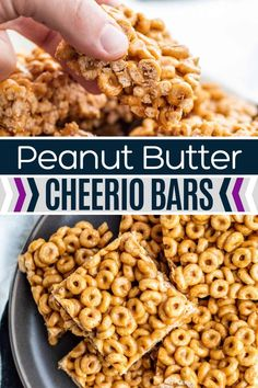 These Peanut Butter Cheerio Bars are quick, easy and only require 3 basic ingredients. These cereal bars make the perfect protein packed afternoon snack or breakfast on the go for both kids and adults. Tray Bake Recipes, Brunch Recipes, Baking Recipes, Snack Recipes, Dessert Recipes, Freezer Recipes, Drink Recipes, Vegan Recipes, Peanut Butter Cheerio Bars