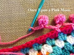 How to crochet a full pom-pom border onto about any edge you can crochet, just for the extra fun/awesome/blow your mind edging. :D