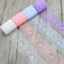 10y/lot width 4cm  Lace Ribbon DIY Embroidered Net Lace Trim Fabric For Sewing Decoration 050025080(China (Mainland))