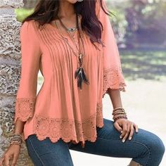 Lace Blouses V-Neck Ladies Shirt Women Sleeve, Lace Collar, Jumpers For Women, Women Brands, Pink Tops, V Neck Tee, Outerwear Jackets, Sleeve Styles, Lounge Wear
