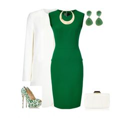 A fashion look from November 2014 featuring tailored dresses, open toe pumps and evening purses. Browse and shop related looks.