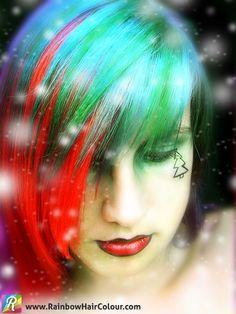 Christmas Hair Colour - How to dye your hair red & green - Rainbow Hair Colour Kawaii Hairstyles, Trendy Hairstyles, Green Hair, Purple Hair, Red Green, Christmas Hair, Christmas Lights, Xmas, Holiday Hairstyles