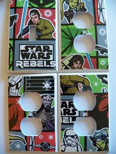 #SW1455 - STAR WARS REBELS 4 PC Light Switch Cover + Electrical Outlet Set - NEW #Leviton