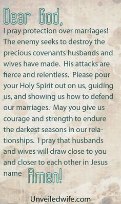 Prayer for protection from the enemy, for marriages. The enemy hates marriage and will do anything to destroy it. But that enemy can't hang with my God!