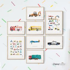 Digger Print, Construction Art Print, Toddler Boys Room Decor, Firetruck Print, Yellow Bus Poster, Biplane Print, Police Car, Alphabet, Numbers, Truck Print, Transportation Wall Art, Birthday Printable, Instant Download, Watercolor, Wall Decor, Ideas, Bedroom, Playroom Vehicles, Printable, Birthday Party Decorations, Edible Paper for Cake, DIY, Signs. By MORILAND Wall Art