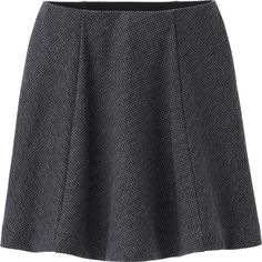 UNIQLO Women Knit Flare Skirt ($7.90) ❤ liked on Polyvore featuring skirts, grey, knit skirt, elastic waist skirt, skater skirt, button up skirt and grey knit skirt