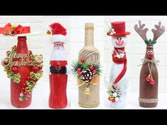 Diy Diwali Decorations, Diy Christmas Decorations Easy, Christmas Crafts, Holiday Decor, Diy Bottle, Wine Bottle Crafts, Christmas Wine Bottles, 242, Bottle Painting