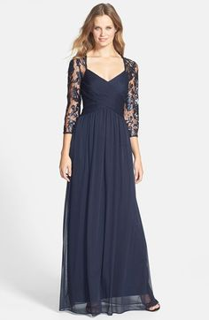 Adrianna Papell Embellished Lace Yoke Pleat Mesh Gown available at #Nordstrom  bridesmaid dress (nice sleeves for fall wedding)