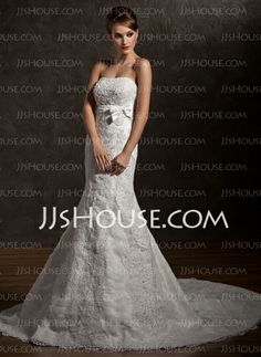 Wedding Dresses - $227.99 - Mermaid Strapless Court Train Satin Tulle Wedding Dress With Ruffle Lace Sashes Beadwork (002012838) http://jjshouse.com/Mermaid-Strapless-Court-Train-Satin-Tulle-Wedding-Dress-With-Ruffle-Lace-Sashes-Beadwork-002012838-g12838