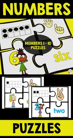 These puzzles are perfect to practice numbers 1 to Students will practice ten frame, numeral, number word and hand with fingers. Numeral Numbers, Numbers 1 10, Primary Classroom, Classroom Ideas, Number Words, Teaching French, Educational Activities, Teaching Tips, Task Cards