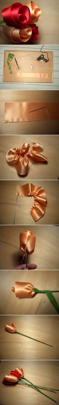 Rosas de satén. Este proyecto te mostrará como realizar muy fácilmente unas elegantes rosas en cinta de satén, ideales para realizar un arreglo permanente. http://wp.me/p1ytFq-NV