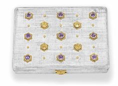 AN AMETHYST, CITRINE, SILVER AND GOLD VANITY CASE, BY BUCCELLATI