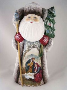 Russian Hand Carved Wood & Painted St. Nicholas / Santa Claus   St ...