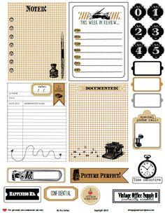 Free Printable Download - Vintage Office Supply 2 Journaling Elements - Vintage Glam Studio