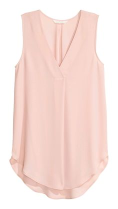 Gently flared, sleeveless blouse in airy crêpe with a V-neck with a pleat centre front and a rounded hem. Slightly longer at the back. The blouse is made partly from recycled polyester. Pink Lady, Mode Hijab, Pink Tops, Sleeveless Blouse, Blouse Designs, Fashion Outfits, Fashion Tips, Shirt Blouses, Fashion Online