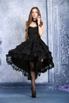 Dark in Love Black Gothic Victorian Floral Lace Corset Dovetail Noble Dress